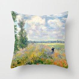 Poppy Fields near Argenteuil by Claude Monet Throw Pillow