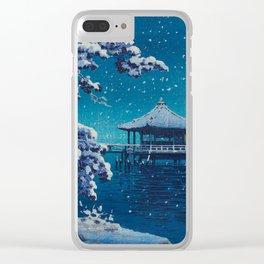 Tsuchiya Kôitsu Japanese Woodblock Vintage Print Blue Winter Snow Pagoda On Lake Clear iPhone Case
