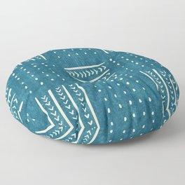Mud Cloth Patchwork in Teal Floor Pillow