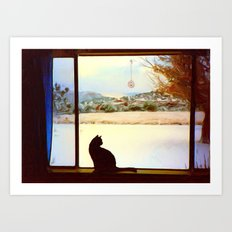 Tosca's Winter Window Art Print