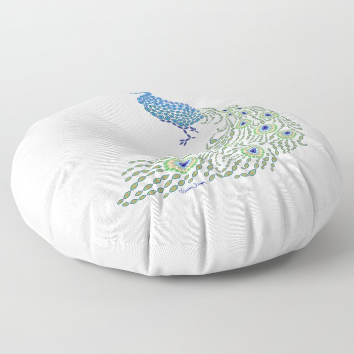 Jeweled Peacock on White Floor Pillow