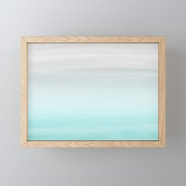 Touching Aqua Blue Gray Watercolor Abstract #1 #painting #decor #art #society6 Framed Mini Art Print