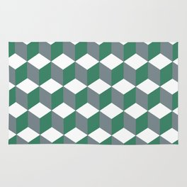 Diamond Repeating Pattern In Quetzal Green and Grey Rug