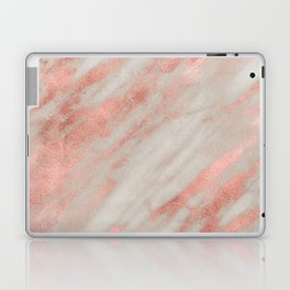 Smooth rose gold on gray marble Laptop & iPad Skin