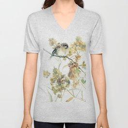 Sparrow and Dry Plants, fall foliage bird art bird design old fashion floral design Unisex V-Neck