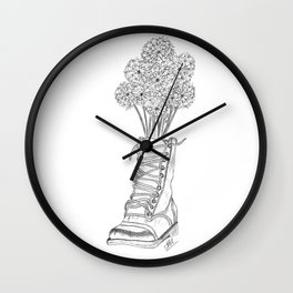 Dandelions in boots Wall Clock