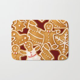 Gingerbread Pattern Bath Mat