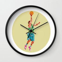 Basketball Player Lay Up Rebounding Ball Low Polygon Wall Clock