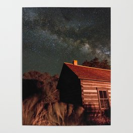 Fruita Schoolhouse and Milky Way Galaxy Poster