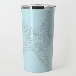Starfish Bliss Black on Light Teal - Digital Art  Travel Mug