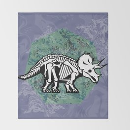 Triceratops Fossil Throw Blanket