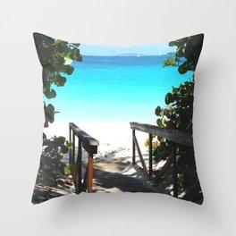 Trunk Bay walkway to beach, St. John Throw Pillow
