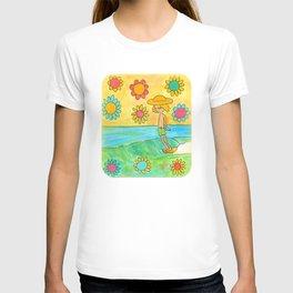 hang 10 groovy surf dude flower power T-shirt