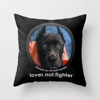 pit bull Throw Pillows featuring Pit Bull by Galen Valle