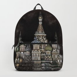 Saint Basil's Cathedral - red sky, Moscow, Russia Backpack