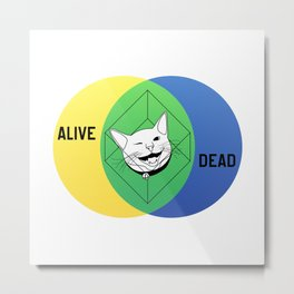 Schrödinger's Cat Venn Diagram Metal Print
