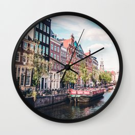 Colorful Amsterdam Canals | Europe Travel City Urban Landscape Photography Wall Clock