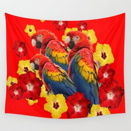 TROPICAL BLUE MACAWS & RED YELLOW HIBISCUS RED ART Wall Tapestry