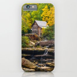 Image USA Streams Glade Creek Grist Mill, Babcock State Park, West Virginia Autumn Nature Watermill brook Stream Creeks water mill iPhone Case