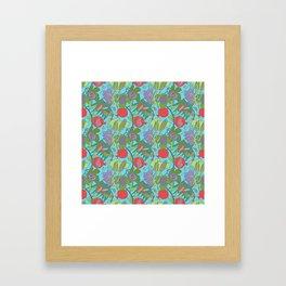 Seven Species Botanical Fruit and Grain with Aqua Background Framed Art Print