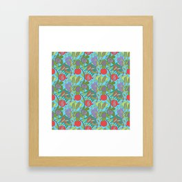 Seven Species Botanical Fruit and Grain with Aqua Background Framed Art Print
