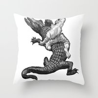 wrestling Throw Pillows featuring Crocodile wrestling! by Noughton