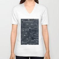 rubyetc V-neck T-shirts featuring city at night by rubyetc