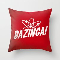 bazinga Throw Pillows featuring Atom Bazinga! by Nxolab