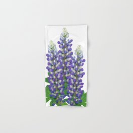 Blue and white lupine flowers Hand & Bath Towel