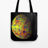 planet of the apes Tote Bags featuring Colorful Moon by 2sweet4words Designs