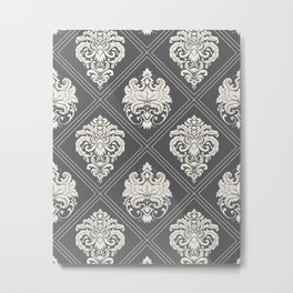 Floral Damask Pattern – Neutral Dark Gray Metal Print