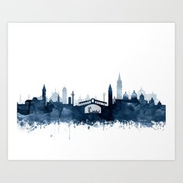 Venice City Skyline Watercolor Blue by zouzounioart Art Print