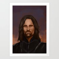 aragorn Art Prints featuring Aragorn Illustration Print by ClymSmith