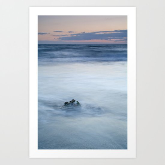 lonely stone at sunset Art Print