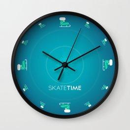 Ice Skate Pattern - Blue  Wall Clock