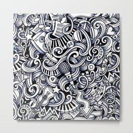 Music doodle pattern Metal Print