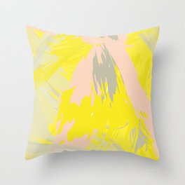 Lovely Summer - Abstract - Coral, Yellow, Sand Throw Pillow