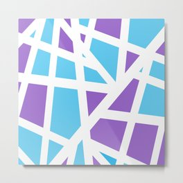 Abstract Interstate  Roadways Aqua Blue & Violet Color Metal Print