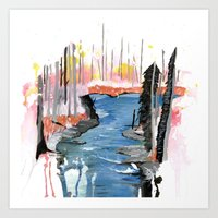 river Art Prints featuring River by Halfmoon Industries