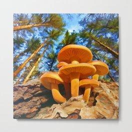 Blackbird Mushrooms Metal Print