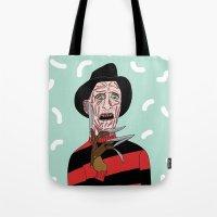 freddy krueger Tote Bags featuring Freddy Krueger by Elena Éper