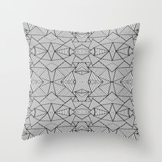 Abstract Mirror Black on White Throw Pillow