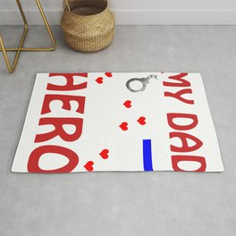 Police Dad My Hero Cop Father Design Graphic Rug