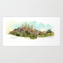 San Gimignano Hillside Art Print