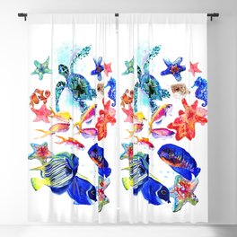 Sea World,Underwater Scene coral sea, beach tropical ocean sea beach house design Blackout Curtain