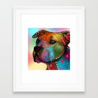 pit bull Framed Art Prints featuring pit bull by mark ashkenazi