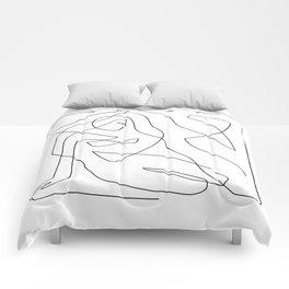 Abstract Figure Sitting Woman I - One line art Comforters