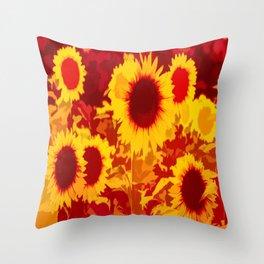 Sunflowers Field Of Fire Throw Pillow