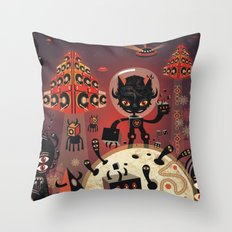 DJ Hammerhand cat - party at ogm garden Throw Pillow