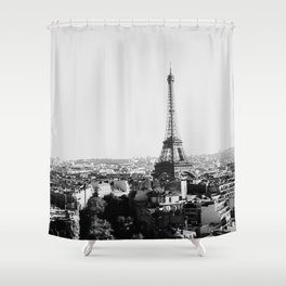 Paris City Sky // Eiffel Tower City Landscape Photography Shot from the top of Champs Elysees France Shower Curtain